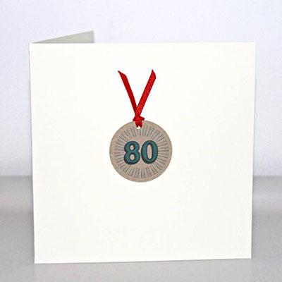 Handmade 80th Birthday Card